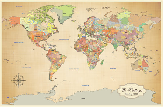 Holiday Gift Ideas for the Globetrotter Maps Travel by Stephanie – Pin Your Travels Map